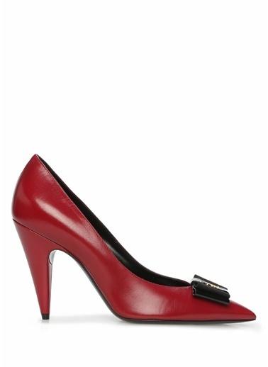 Saint Laurent Saint Laurent  Tokalı Deri Stiletto 101612707 Kırmızı